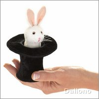 Folkmanis finger puppet mini rabbit in hat