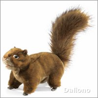 Folkmanis hand puppet squirrel, red