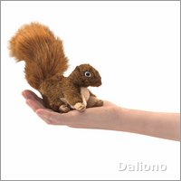 Folkmanis finger puppet mini squirrel, red