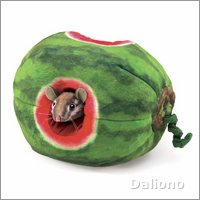 Folkmanis finger puppet chipmunk in watermelon