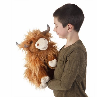 Folkmanis hand puppet highland cow