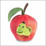 Folkmanis finger puppet worm in apple